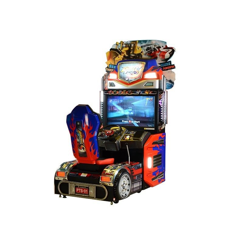 Upright Car Racing Coin Operated Game Machine For Shopping Mall
